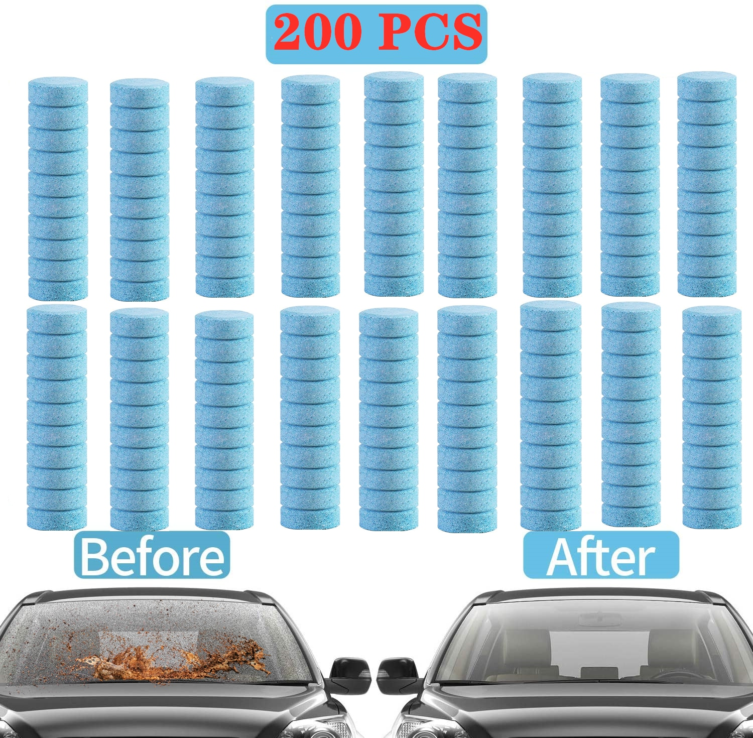 20/50/100/200 Pcs Car Effervescent Washer tablet Auto Window Cleaning Car Solid Wiper Fine Windshield Glass Cleaner Accessories