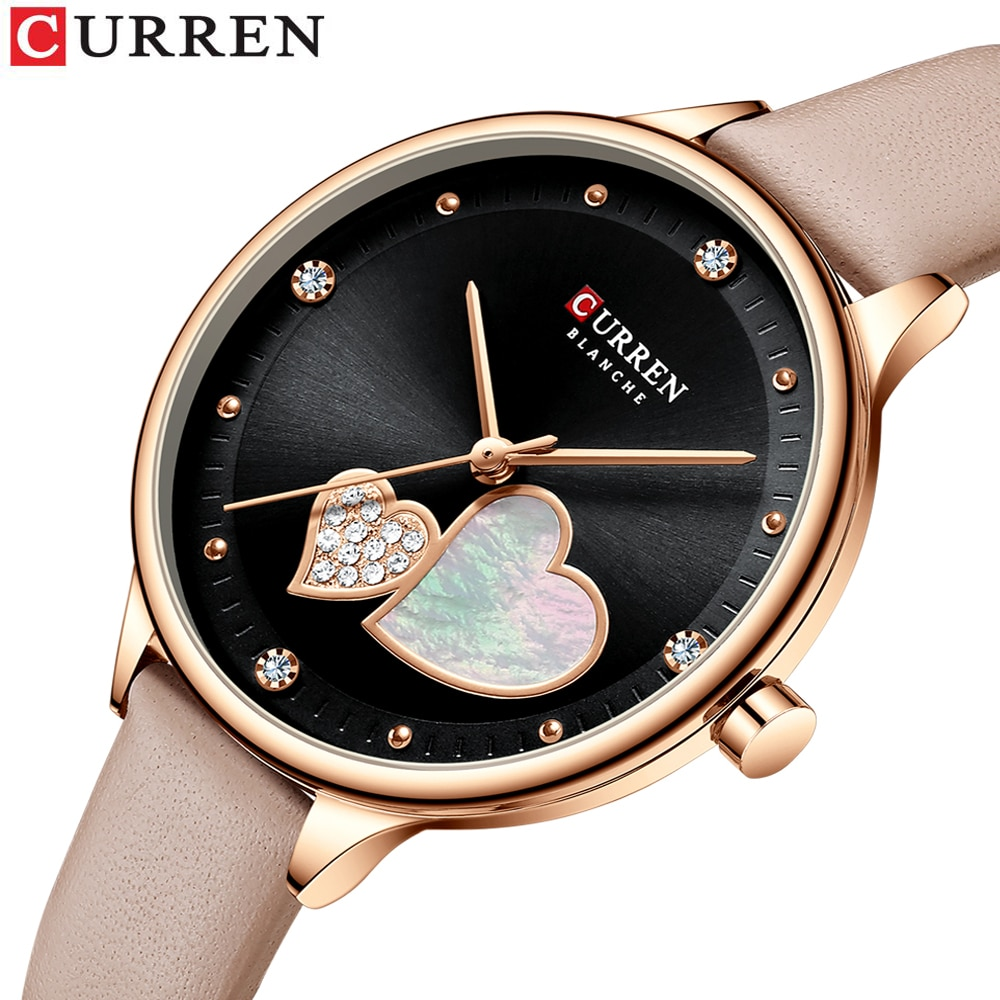 CURREN Women Fashion Black Golden Quartz Watch Charming Rhinestone Design Waterproof Leather Band Wristwatch Luxury Casual Clock