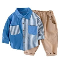 toddler boy spring and autumn long sleeved shirtpants two pieces suit girls clothing outfit sets kids boutique designer clothes