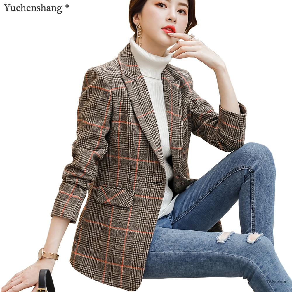 Blazer a cuadros de alta calidad para mujer con bolsillos estilo inglés chaqueta de un solo botón moda prendas de vestir abrigo Suelto