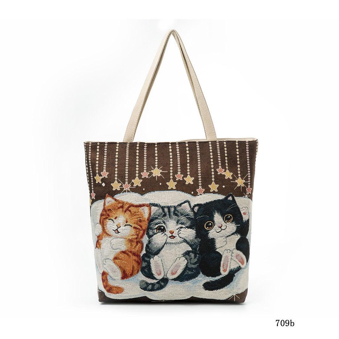 Bolso de mujer con bordado de gato Toth Adorable bolso de hombro para Gato