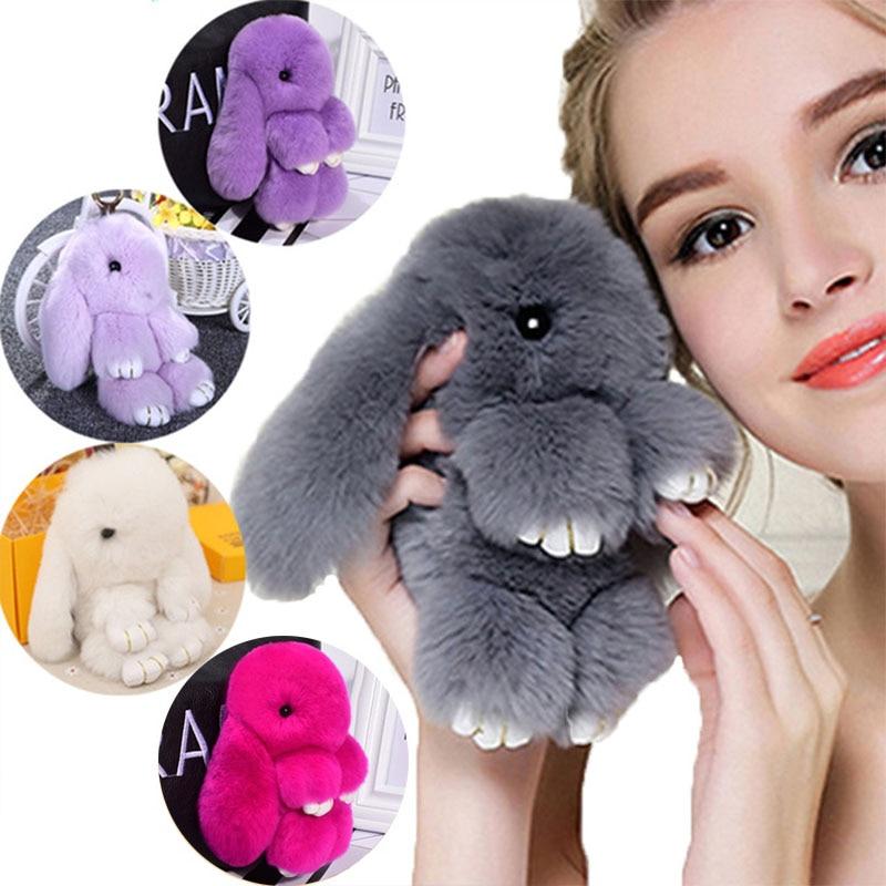 Милый плюшевый кролик, брелок для женщин, меховой помпон, ангел, кролик, брелок, заяц, помпон, плюшевые куклы, игрушка для девочек, сумка, автомобильный брелок, подвеска 13 см