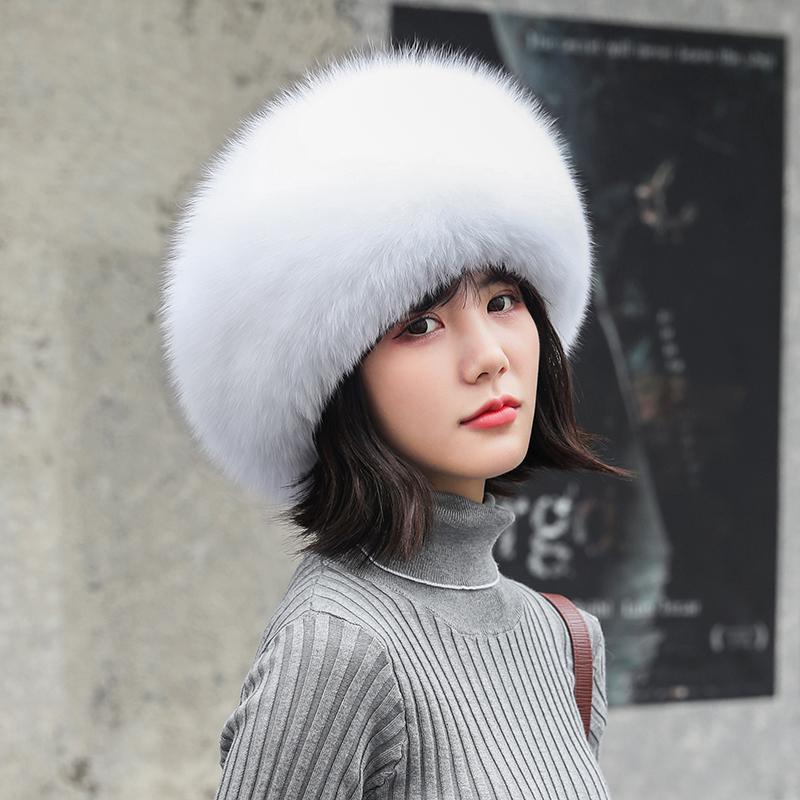 Fox Fur Hat Female Mongolian Hat 2020 Fashion Warm  Female Winter  leather russian fur hats for women fur headband