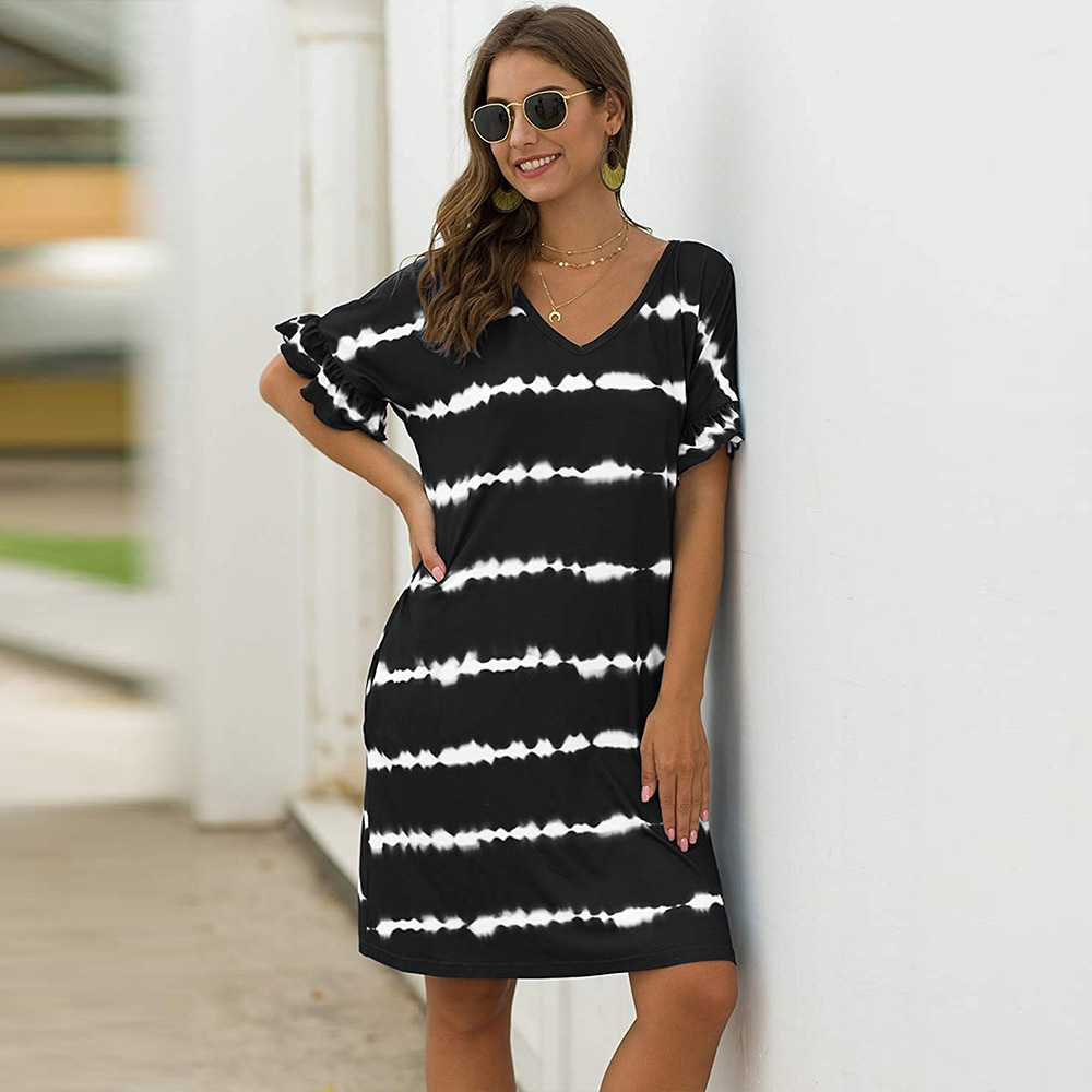 striped asymmetric tunic tee with pockets Women's Striped Tie Dye T-Shirt Dress Ruffle Short Sleeve Casual Swing Tunic Dresses with Pockets