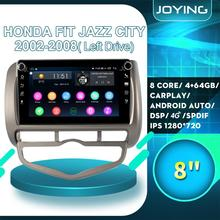 "8 ""Android Auto Stereo Radio Auto 2 Din Gps Multimedia Speler Voor Honda Jazz Stad 2002- 2008 Links rijden Head Unit Cassette Dvr"