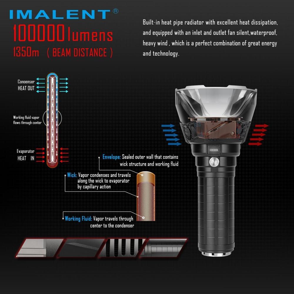 IMALENT  CREE XHP70.2 Flashlight MS18 Hand Flashlig, Maximum 100000 Lumens Beam Distance, 1350 Meter Cooling System enlarge