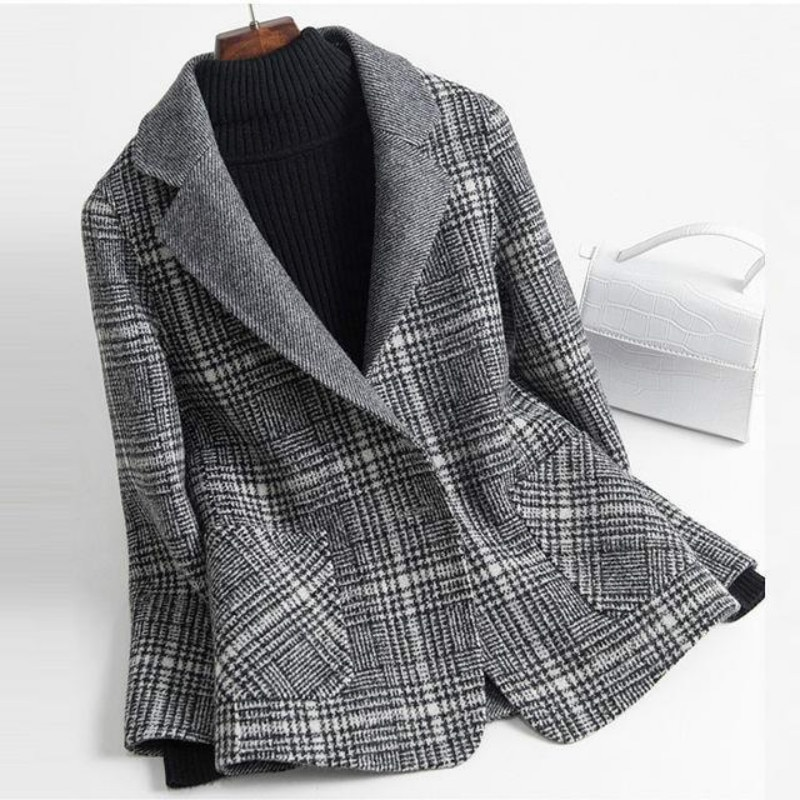 New Gray Plaid Coat Women's Mid-Length Winter Thickened Slim Fit Color Matching Woolen Coat Office L