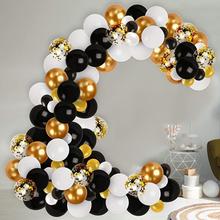 130 pièces noir blanc or ballons arc ballon guirlande Kit pour fiançailles mariage anniversaire bébé douche fiançailles fête décor