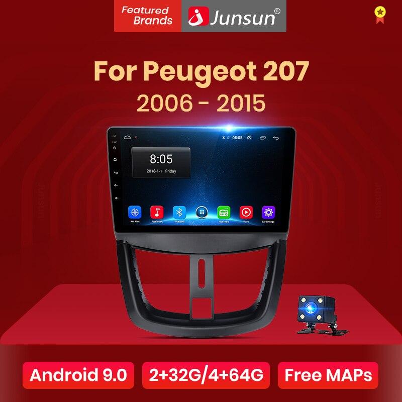 Junsun v1 2g + 32g android 9.0 para peugeot 207 2006-2015 rádio do carro reprodutor de vídeo multimídia navegação gps 2 din dvd