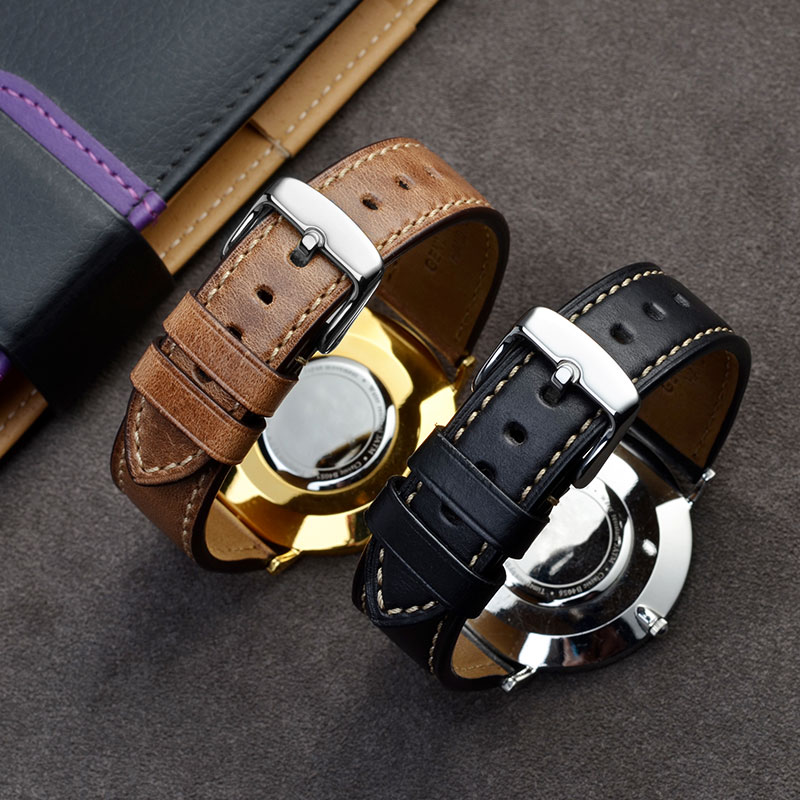 BISONSTRAP Horween Leather Watch Band 18mm 19mm 20mm 21mm 22mm 23mm 24mm,Calfskin Watch Strap,Watch Accessories for Men Women calfskin leather watchband quick release watch band wrist strap 18mm 20mm 22mm 24mm smart watch strap watches accessories