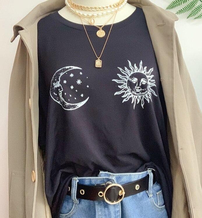 Sunfiz hjn sun e lua impresso camiseta feminina estilo retro tarô camisa estética grunge roupas góticas