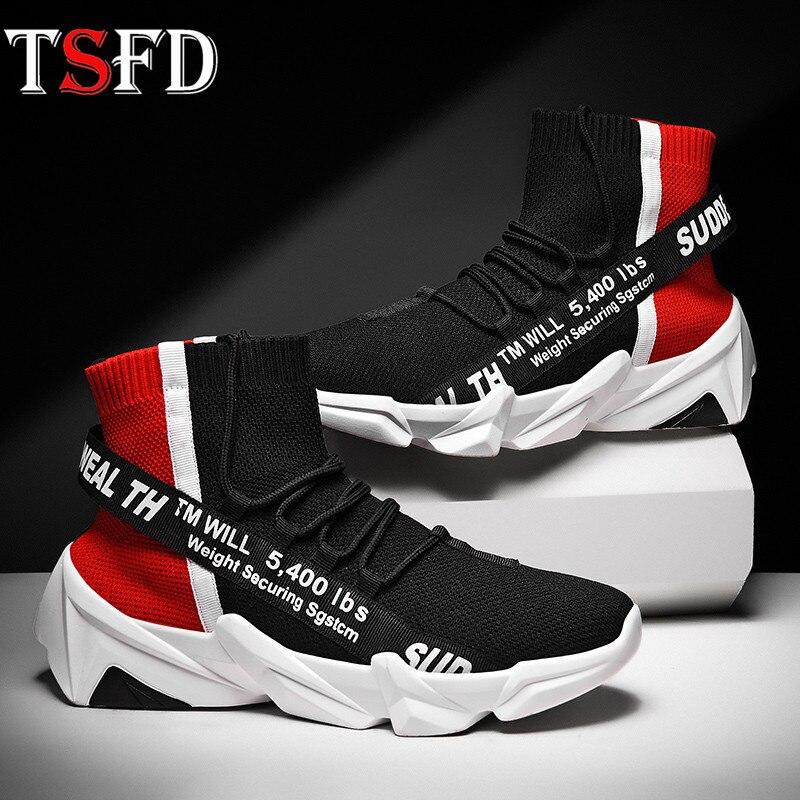 High Top Sport Shoes Male Mesh Black Sneakers Breathable Men's Summer Sports Shoe Slip-on Running Shoe Men Sock Footwear New V26