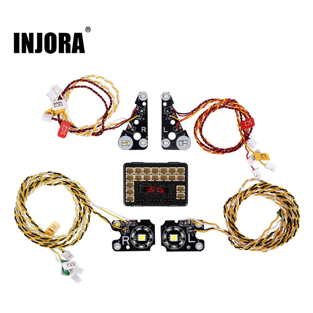 INJORA TRX4 RC سيارة الجبهة الخلفية LED أضواء مصباح مجموعة ل 1/10 تراكسس RC حفارات TRX-4 المدافع