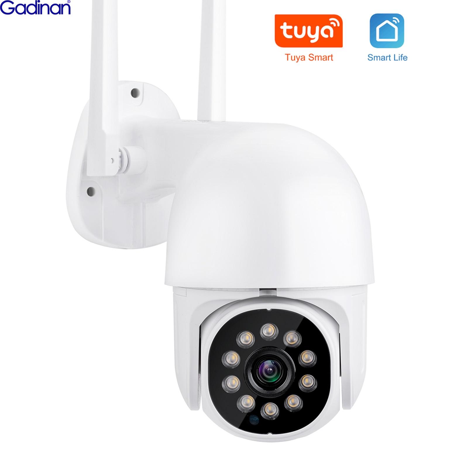 Gadinan 5MP PTZ IP Camera WiFi Tuya Smart Life Home 4x Zoom AI Human Auto-Tracking IR/Color Night Vi