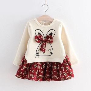Kids Dresses For Girls Spring Autumn Flower Princess Dress Girls Clothes Children Clothing Cute Animal Style Baby Dresses
