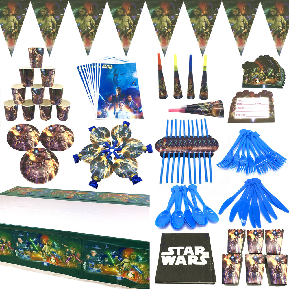 Star Wars Party Theme Supplies Paper Tablecloth Cup Plate Caps Napkins Birthday Party Decorations Ki