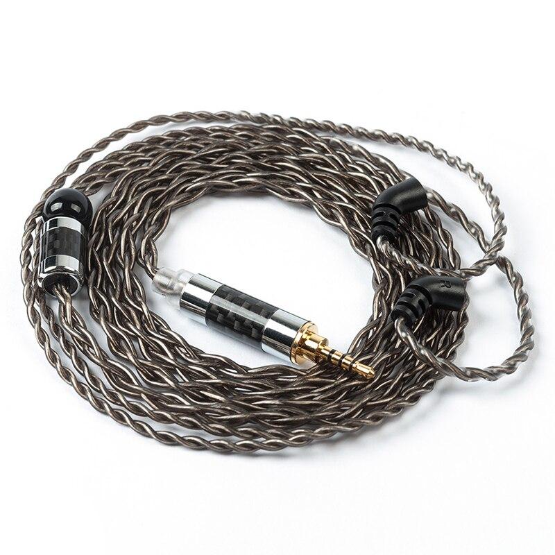 Ak yinyoo 4 núcleo prata chapeado cabo 2.5/3.5/4.4mm equilibrado cabo com 2 pinos apenas para blon BL-03 bl 03 blon BL-05 bl 05