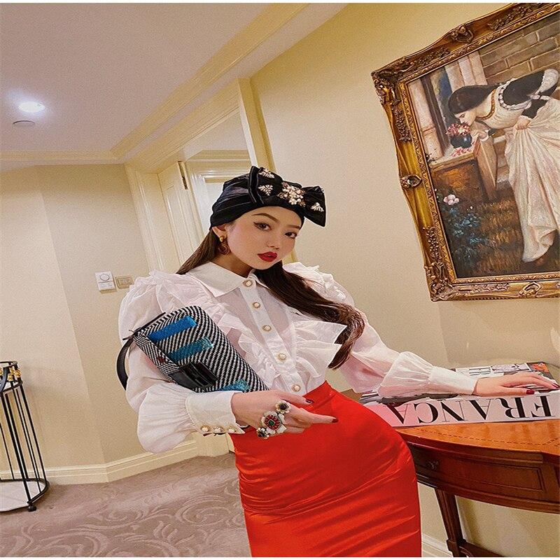 2020 outono palácio estilo vintage novas chegadas cor sólida rendas de lótus único-breasted topo blusa feminina mangas compridas camisa feminina