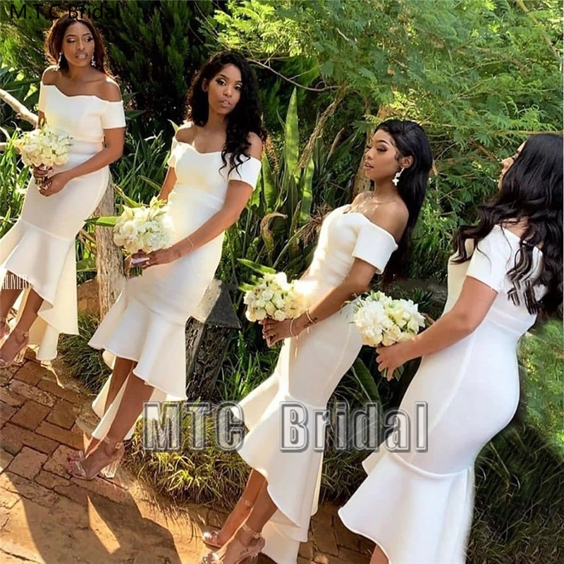 Short White Mermaid Bridesmaid Dresses Off The Shoulder Short Sleeve Black Girl Wedding Party Dress Plus Size Maid Of Honor Gown