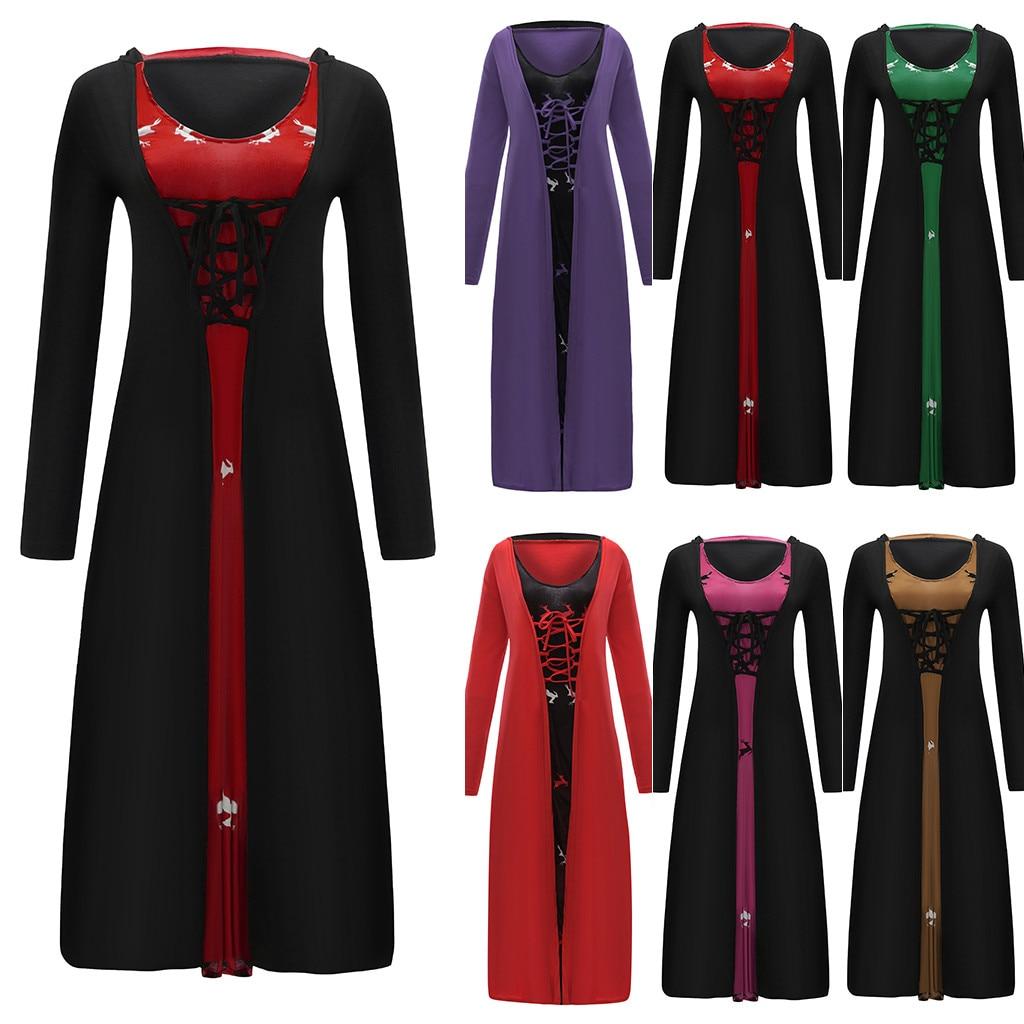 Goth Vestido Mujer manga larga Vintage Vestidos de talla grande mujer ropa larga con capucha vestido tallas grandes 4XL 5XL Maxi Vestidos # G8