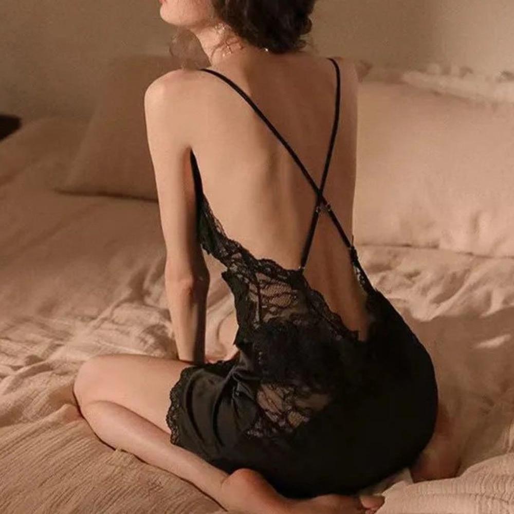 Vestido de noche de encaje con escote en V profundo Para Mujer, lencería Sexy, camisón dividido con tirantes finos, Ropa de Dormir Para Mujer