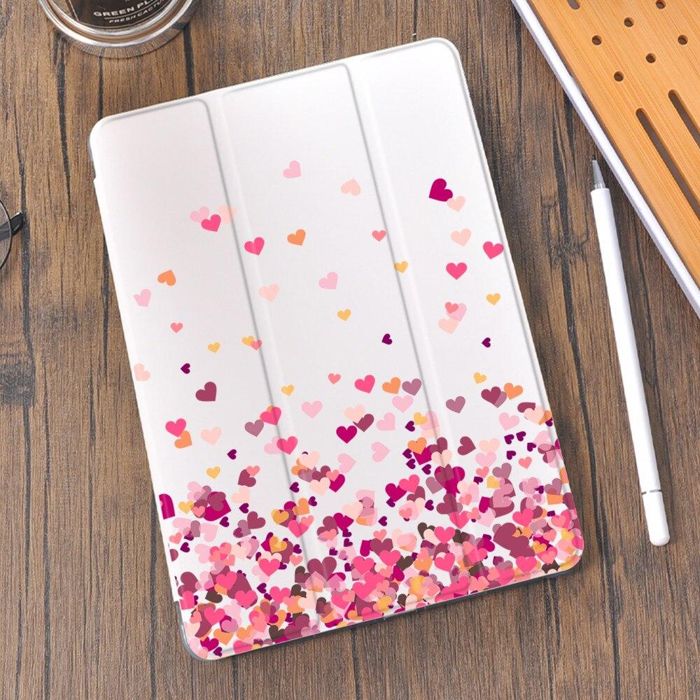 Coração para Ipad Capa com Suporte de Lápis Amor Case Bonito 4 Silicone Mini 5 10.2 8th 2021 7th 12.9 11 10.5 2 3 Pro ar