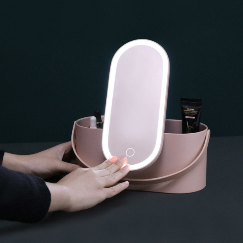 Caja de almacenamiento de cosméticos 2 en 1 estuche portátil para maquillajes espejo de maquillaje con luz Led contenedor de bolsa de cosméticos de viaje