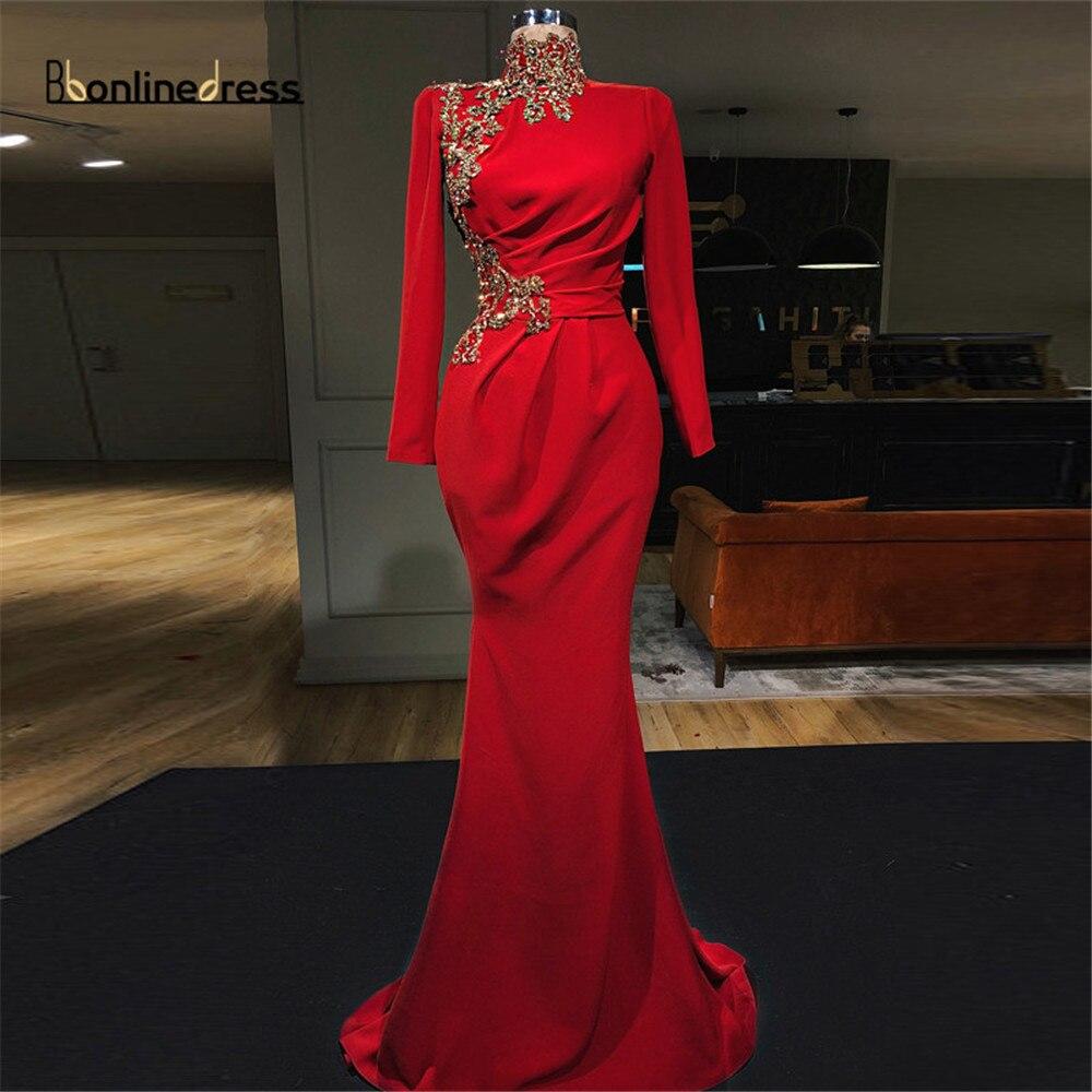Bbonlinedress Muslim Evening Dresses High Collar Full Sleeves Mermaid Evening Dress Court Train Formal Gowns robe-de-soiree