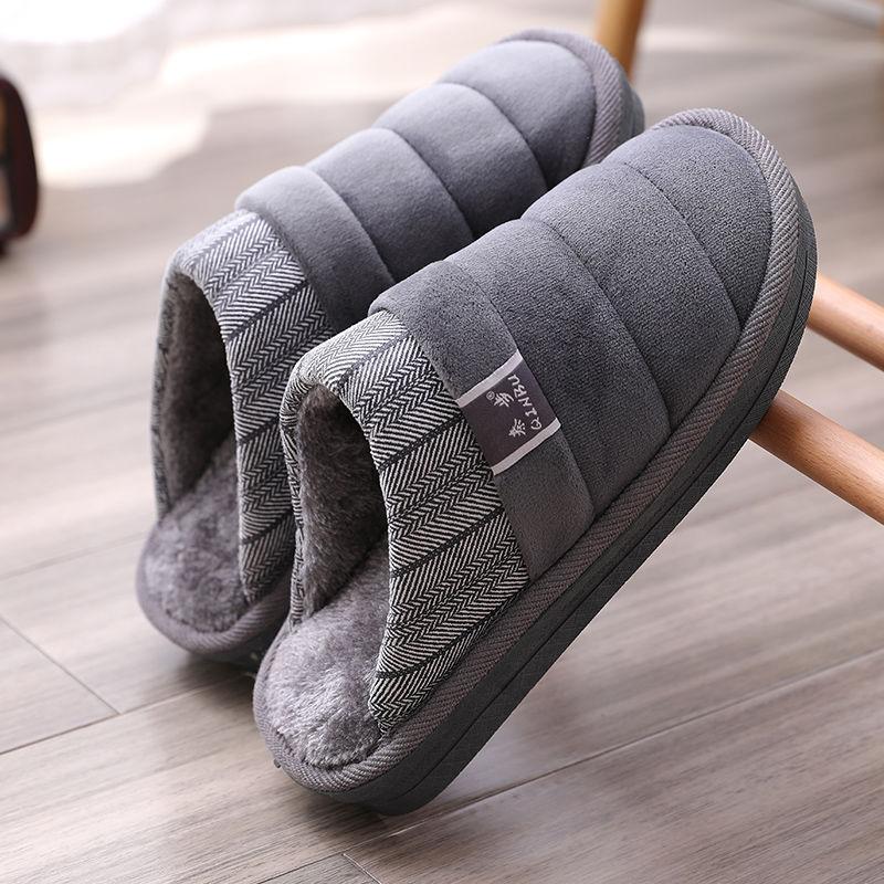 Plus Size 48 49 Waterproof Men Down Slippers Winter Indoor Fur Shoes Male Rubber Anti-Odor Mans Flurry Slides