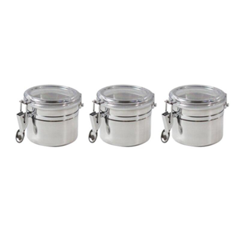 Mini recipiente de aço inoxidável conjunto com tampa arylic clara e braçadeira de travamento de 3 peças