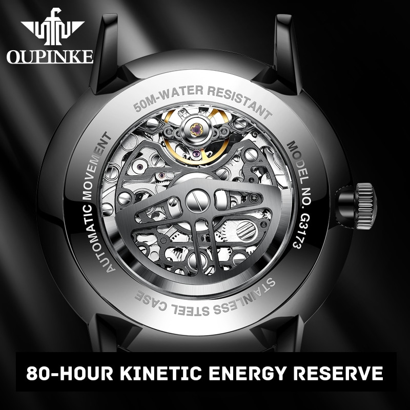 OUPINKE Brand Luxury Black Automatic Mechanical WatchFor Men Skeleton Transparent Men Watches Fashion Leather Watch Waterproof