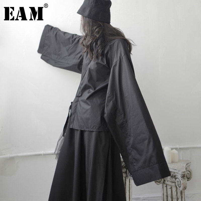 [EAM] femmes noir fendu Joint grande taille Blouse nouveau revers à manches longues coupe ample chemise mode marée printemps automne 2020 1S745