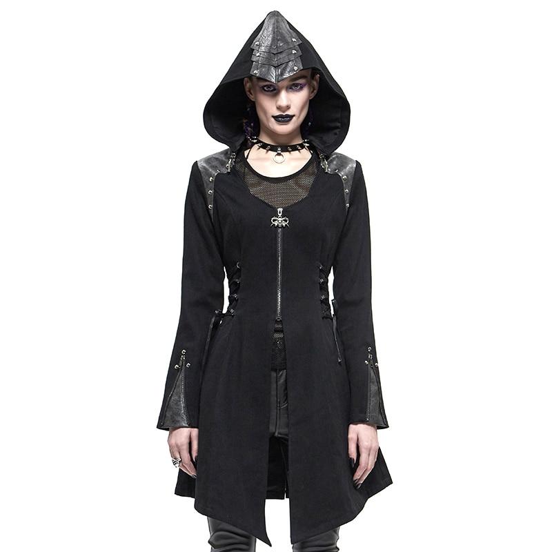 European and American ladies punk rock fashion women's autumn and winter long windbreaker coat street hat jacket slim coat