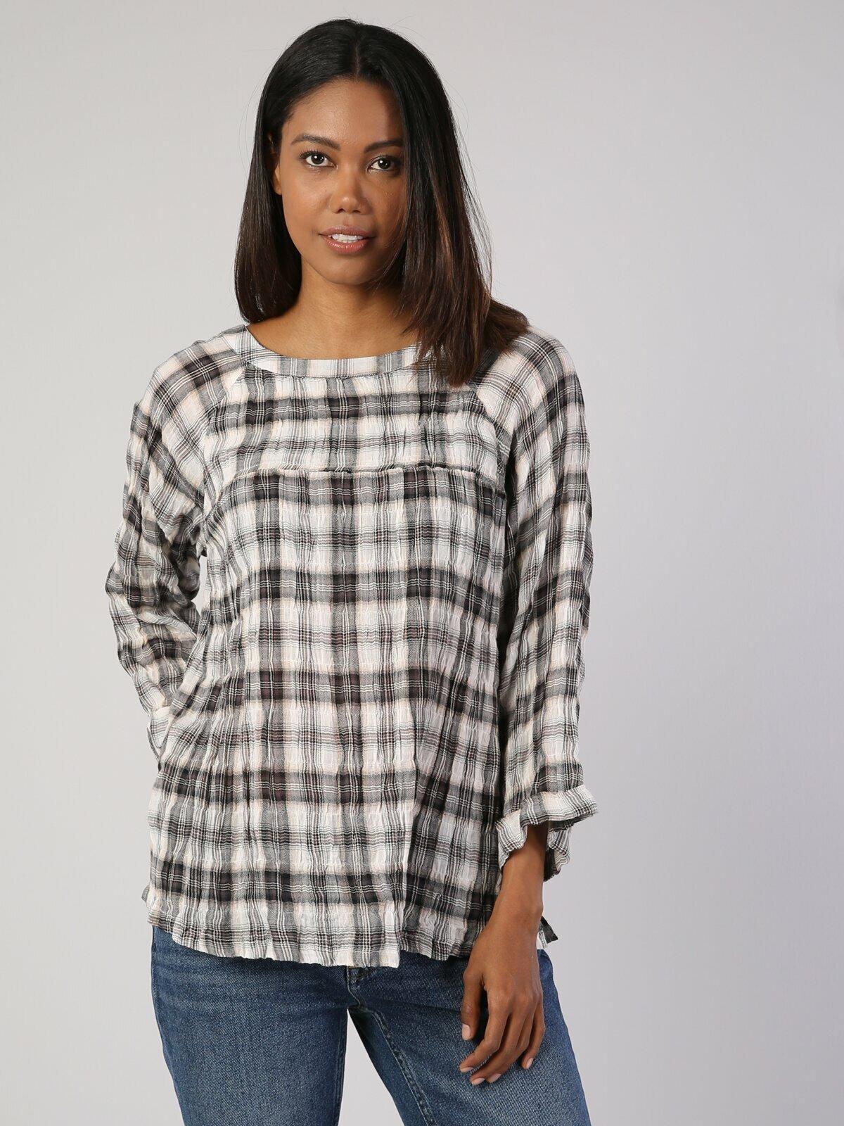 Colins امرأة بلوزة أوف وايت طويل الأكمام Shirtfemale الأزياء قميص المرأة ، CL1035479