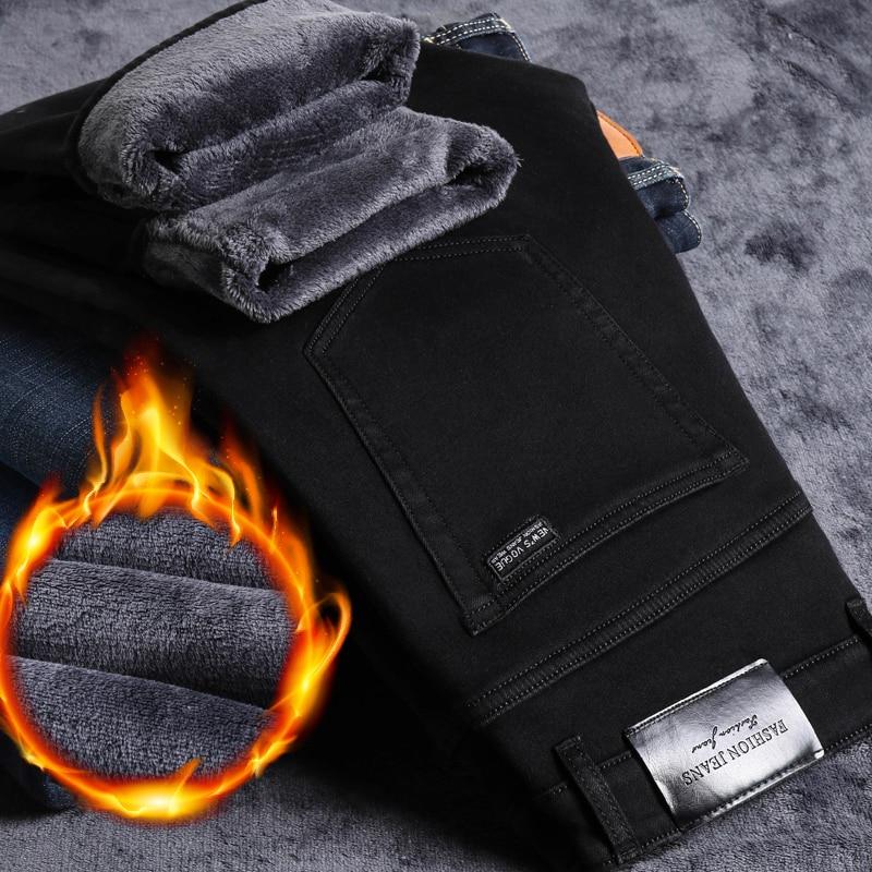 Зимние мужские джинсы 2020, черные облегающие эластичные плотные бархатные брюки, теплые джинсы, повседневные мужские флисовые брюки