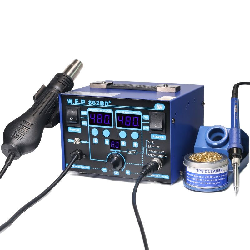 WEP 862BD+ Visible Adjustable Temperture Air Volume BGA Rework Station Hot Air Soldering Station SMD Rework Station With ESD
