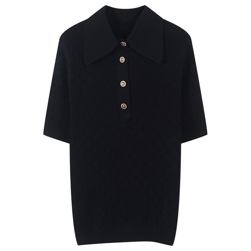 Runway sólido de malha camisa superior feminino botões sexy festa flexível camisetas feminino verão férias senhoras oco para fora topos 2020