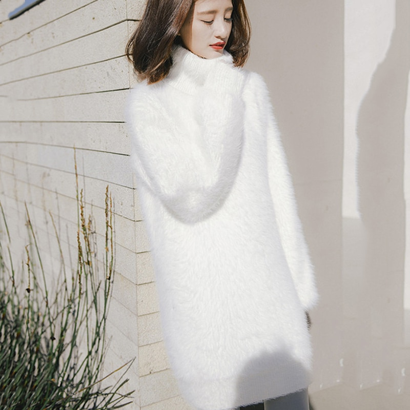 Turtleneck Sweater Women Pullover Knit Dress Long 2021 New Autumn Loose Knit Female Thick Winter Bottoming Sweater Dress Vestido hdy haoduoyi 2018 new arrival beige knit half necked openwork loose pullover sweater autumn winter