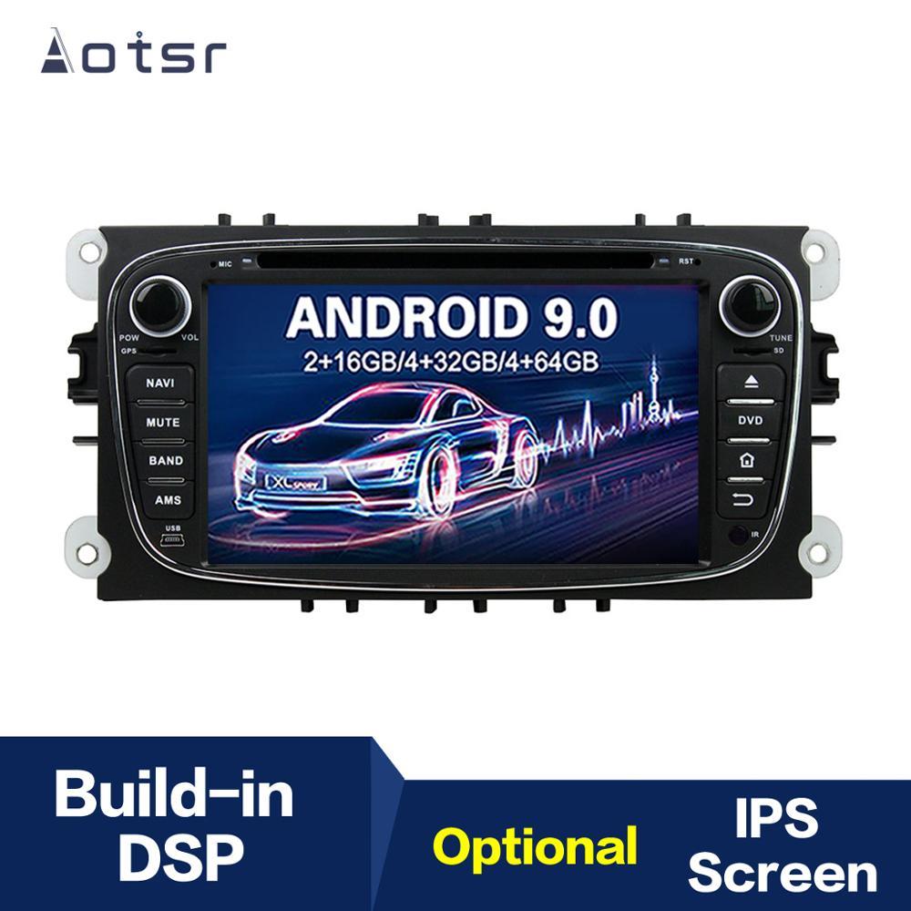 Leitor de rádio dvd do carro da navegação de aotsr android 9.0 gps para ford/focus/S-MAX/mondeo/cmax/galaxy multimídia player gravador de fita