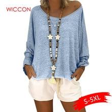 Fashion Batwing Long Sleeve Off Shoulder Loose Womens T-shirt 2020 Summer Casual Solid Tops Women Plus Size 5XL T-Shirt