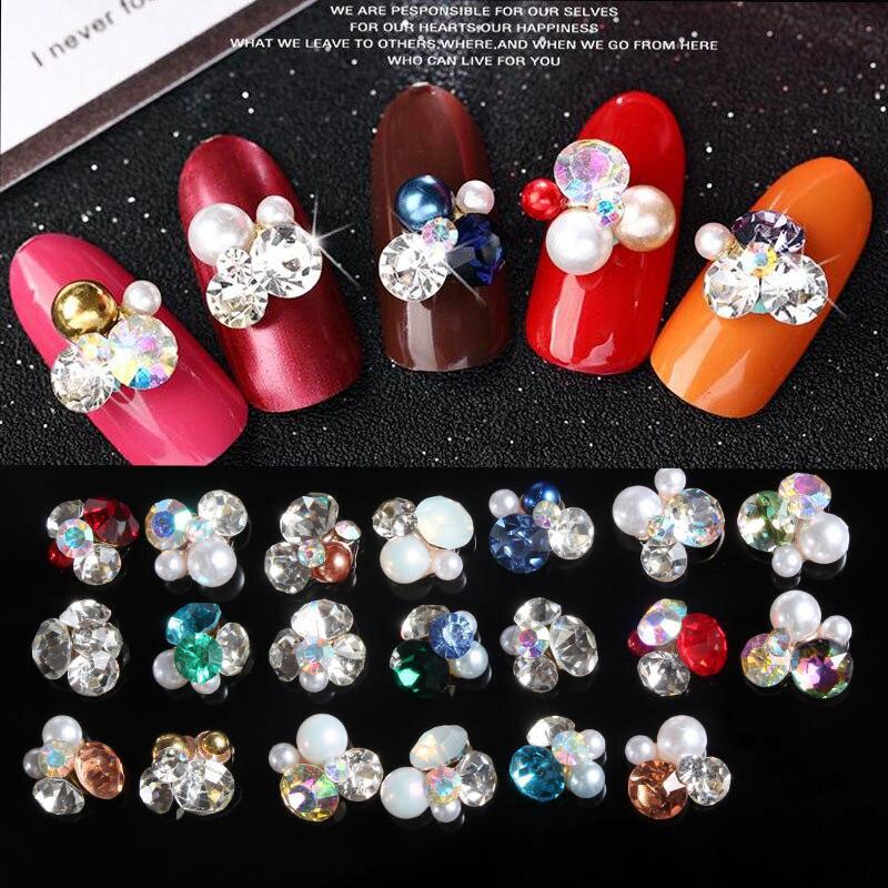 NEW Japanese nail jewelry decoration 100pcs alloy heap rhinestones pearls 3d nail art charm nail metal glitter accessories #MKL1