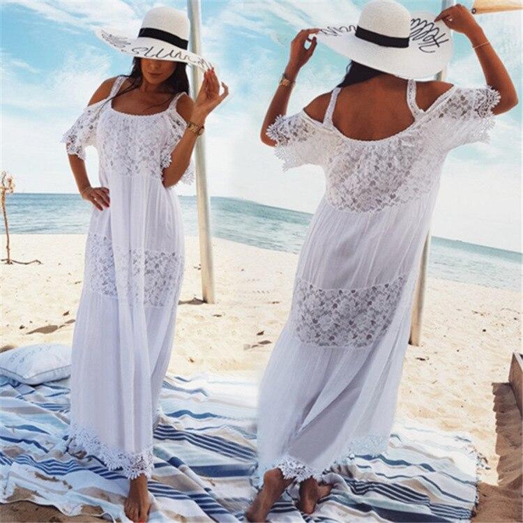 Женское кружевное пляжное платье, белое длинное платье-туника из 100% хлопка с открытыми плечами на бретельках для отдыха, 2019