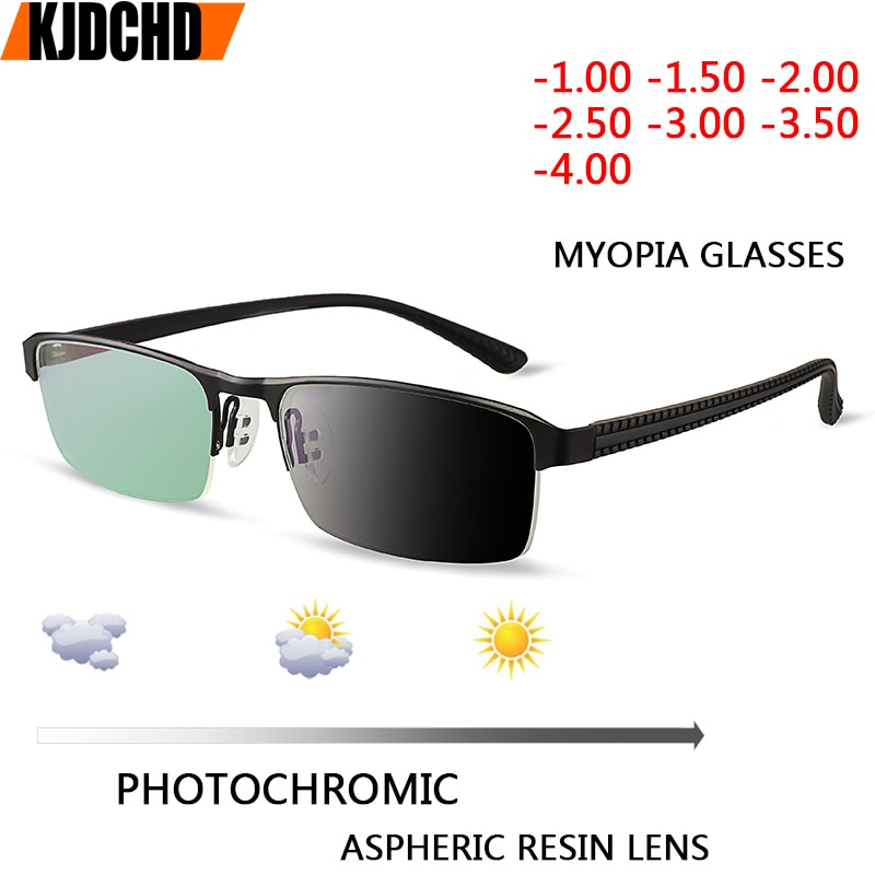 JIE.B Transition Sunglasses Photochromic myopia Eyeglasses Finished myopia Glasses for Men Computer