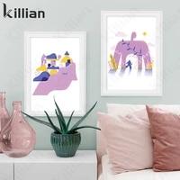 blue purple abstract girl rock climbing sport character cartoon geometric canvas painting wall art print poster bedroom home dec