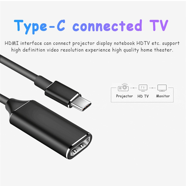 Adapters For Type C To HDMI-compatible Converters 4K HD Conversion Cable Accessories For Mobile Phon
