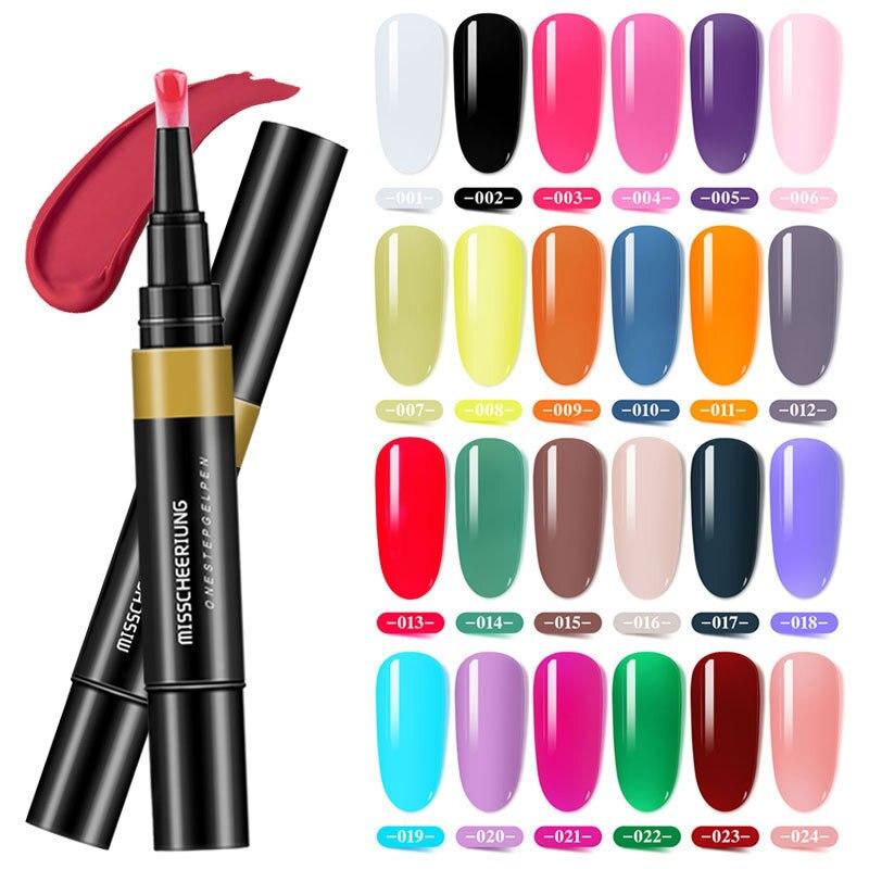24 colores el Gel perezoso de un paso gira de pegamento tres en uno pulido de larga duración esmalte de uñas pluma de barniz Pro manicura