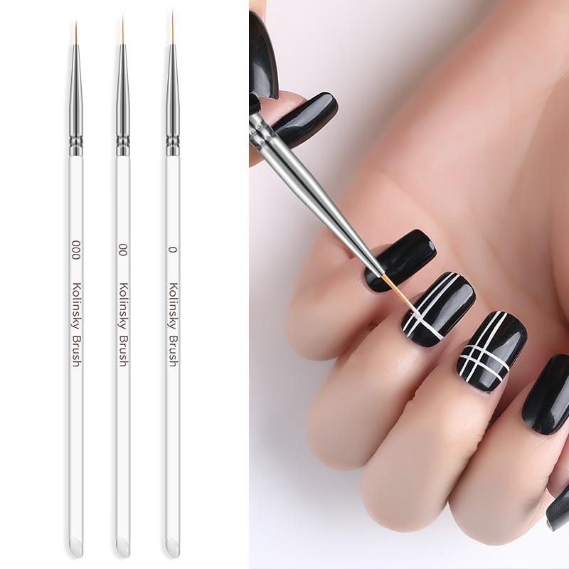 3 unids/set línea de Arte de uñas de Gel pinceles para pintar acrílico de cristal fino delineador dibujo pluma arte de uñas DIY manicura herramientas juego de arbustos de uñas