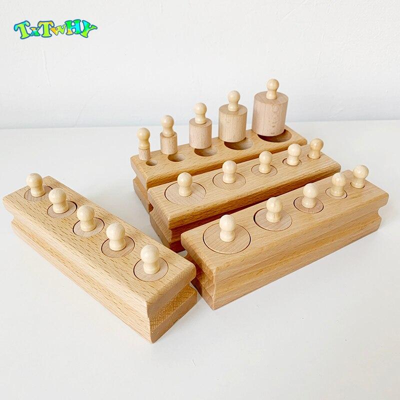 Детские Монтессори Развивающие деревянные игрушки Монтессори образовательных цилиндра разъем Конструкторы развития практика и чувства