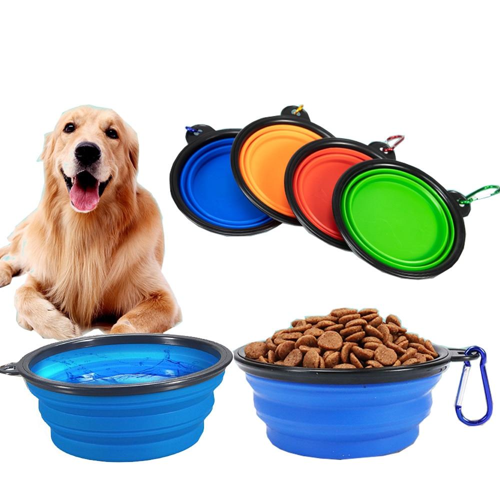 1000ml castron pentru animale de companie pliabil silicon caine de călătorie boluri de mers pe jos vas de apă portabil pentru câini mici și mijlocii și pisici, boluri animale de companie mâncare vase