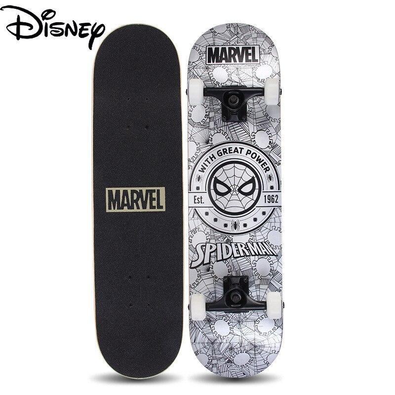 Disney's Spider-Man New Marvel Skateboard Adult Maple Board Double Tilt Four-wheel Skateboard with PU Flashing Wheels